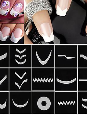 levne Nehtové sady-18 pcs Francouzské tipy pro design nail art manikúra pedikúra Módní Denní / Francouzský tip průvodce