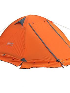 billige Sport og friluftsliv-FLYTOP 2 personer Telt Utendørs Bærbar Regn-sikker Hold Varm Dobbelt Lagdelt camping Tent >3000 mm til Vandring Camping Reise PVC Oxford