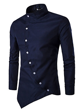 cheap Weekly Deals-Men's Chinoiserie Cotton Slim Shirt - Solid Colored Basic Standing Collar / Long Sleeve / Spring / Fall