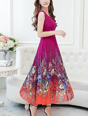 ieftine 70% OFF-Pentru femei Mărime Plus Size Concediu Șifon Swing Rochie - Imprimeu, Floral În V Midi