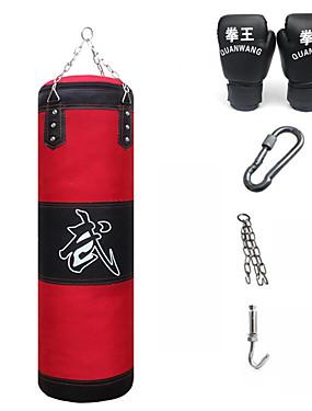 billige Sport og friluftsliv-Punchbag sandbag 1 Henger Boksehansker Avtakbar kjettingrem Justerbar Holdbar Tømme Til Taekwondo Boksing Karate Kampsport Muay Thai Styrketrening 4 pcs Rød