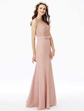 e22ff72c9b18 Ίσια Γραμμή Με Κόσμημα Μακρύ Σιφόν Δαντέλα κορδόνι Φόρεμα Παρανύμφων με  Φιόγκος(οι) Δαντέλα Ζώνη   Κορδέλα με LAN TING BRIDE®