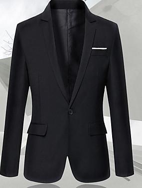 abordables Costumes & Blazers Homme-Homme Quotidien Printemps Normal Blazer, Couleur Pleine Col châle Manches Longues Coton Noir XXL / XXXL / 4XL / Mince