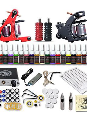 povoljno Ljepota i kosa-DRAGONHAWK Tattoo Machine Starter Kit - 2 pcs Tattoo Machines s 20 x 5 ml tetovaža tinte, Profesionalna, Sigurnost, Jednostavna primjena Mini napajanje No case 2 x legure tetovaža stroj za obloge i
