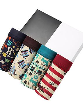 abordables Ropa Interior y Calcetines de Hombre-Hombre Súper Sexy Boxers Cortos - Estampado, Un Color 4 Piezas Arco Iris XL XXL XXXL