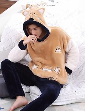 baratos Roupões & Pijamas para Homens-Homens Patchwork Conjunto Roupa de Noite Estampa Colorida Laranja L XL XXL / Com Capuz / Inverno