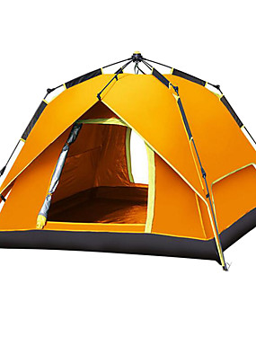 povoljno Sport és outdoor-Shamocamel® 4 osobe Automatski šator Vanjski Vodootporno Vjetronepropusnost UPF 50+ Dvaput Slojeviti Automatski Dome šator za kampiranje 2000-3000 mm za Pješačenje Plaža Kampiranje Poliester Silver