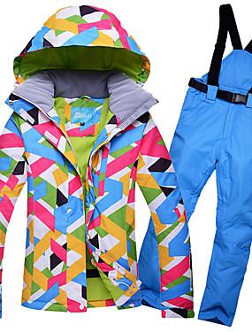 abordables Deportes y Ocio-GQY® Mujer Chaqueta y pantalones de Esquí Impermeable Mantiene abrigado Resistente al Viento Esquí Deportes de Invierno Poliéster Sets de Prendas Ropa de Esquí
