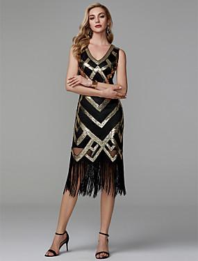 billige Bryllup & Eventer-Tube / kolonne V-hals Telang Polyester Glitrende Cocktailfest Kjole med Paljett av TS Couture®