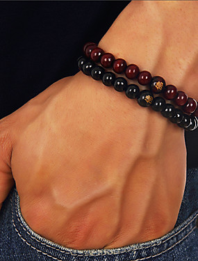 voordelige Kralenarmband-Heren Kralenarmband kralen Boeddha chakra Goedkoop Eenvoudig Casual / Sporty Equilibrio Puinen Armband sieraden Zwart / Rood Voor Dagelijks Straat Uitgaan