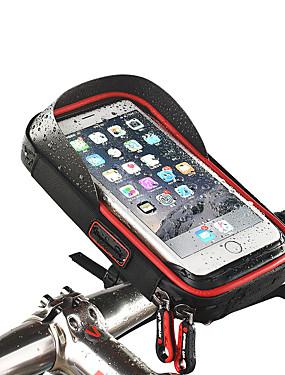 billige Sport og friluftsliv-Wheel up Mobilveske Vesker til sykkelstyre Berøringsskjerm Vanntett Hodetelefonhull Sykkelveske TPU Svamp Nylon Sykkelveske Sykkelveske iPhone X / iPhone XR / iPhone XS Fjellsykkel Veisykling