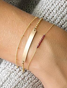 voordelige ID Armband-3 stuks Dames Rood Kristal ID-armband Schakelketting Bar Dames Natuur modieus Koper Armband sieraden Goud Voor Dagelijks Uitgaan