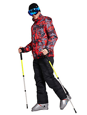 billige Sport og friluftsliv-Wild Snow Herre Skijakke og bukser Vindtett Varm vannavstøtende Ski & Snowboard Vandring Multisport Polyester 100 % bomull Klessett Skiklær / Vinter