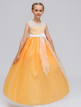 cheap Sample Dresses Sale-A-Line Maxi Flower Girl Dress - Chiffon / Lace Sleeveless Jewel Neck with Petal by LAN TING Express