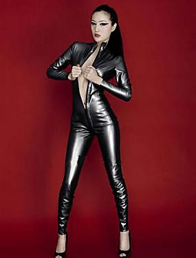 povoljno Igračke i hobiji-Sjajna zentai odijela Catsuit Odijelo za kožu Djevojka za motocikle Odrasli Koža Lateks Cosplay Nošnje Integrirani Style Spol Halloween Žene Crn Jednobojni Halloween Karneval Valentinovo