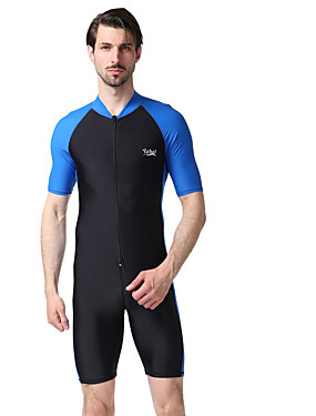 cheap Sports & Outdoors-YOBEL Men's Rash Guard Dive Skin Suit Ultra Light (UL) Quick Dry Wearable Chinlon Short Sleeve Swimwear Beach Wear Diving Suit Patchwork Swimming Water Sports / High Elasticity
