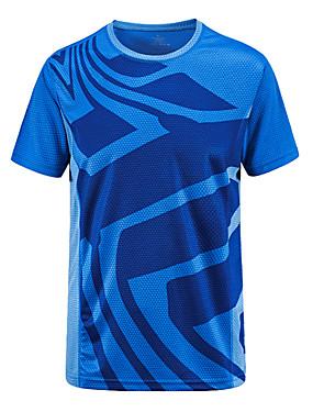 저렴한 스포츠 & 아웃도어-남성용 하이킹 T-셔츠 짧은 소매 집 밖의 통기성 빠른 드라이 티셔츠 탑스 봄 여름 테릴린 폴리에스테르 테피터 크루넥 아미 그린 그린 블루 캐주얼 테니스 캠핑 / 약간의 신축성