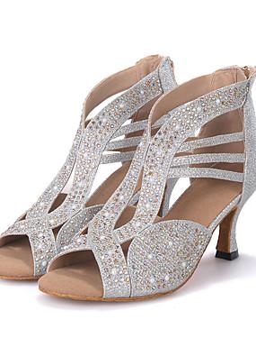 povoljno Kupuj više, štedi više-Žene Sintetika Cipele za latino plesove Isprepleteni dijelovi Štikle Deblja visoka potpetica Moguće personalizirati Zlato / Crn / Pink / Seksi blagdanski kostimi / Koža