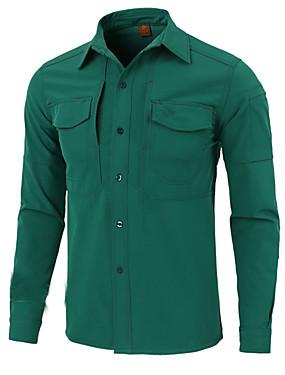 저렴한 스포츠 & 아웃도어-Esdy 남성용 하이킹 셔츠 긴 소매 집 밖의 따뜨하게 유지 땀 흡수 기능성 소재 멀티 포켓 셔츠 가을 봄 테릴린 그린 블루 그레이 등산