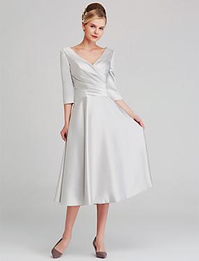 2b96581710 olcso Esküvői bolt-A-vonalú V-alakú Tea-hossz Szatén Örömanya ruha