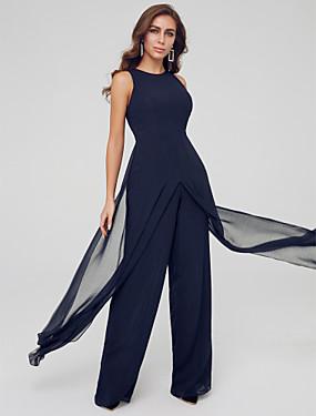 ราคาถูก งานแต่งงาน-Jumpsuits อัญมณี ลากพื้น ชิฟฟอน ทางการ แต่งตัว กับ ผ่าหน้า โดย TS Couture®