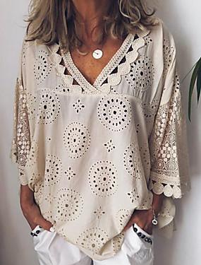 abordables Nouveautés-Chemise Grandes Tailles Femme, Couleur Pleine Dentelle Col en V Ample Blanche
