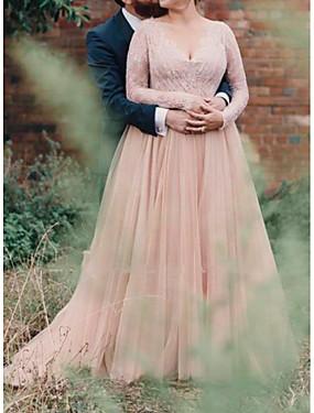 voordelige De Bruiloftswinkel-A-lijn V-hals Tot de grond Kant / Tule Op maat gemaakte trouwjurken met Lace Insert door LAN TING Express