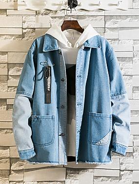 baratos Jaquetas Jeans-Homens Diário Outono / Outono & inverno Padrão Jaqueta jeans, Sólido Com Capuz Manga Longa Poliéster Preto / Azul US32 / UK32 / EU40 / US34 / UK34 / EU42 / US36 / UK36 / EU44