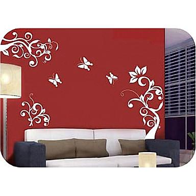 Blomster Fantasi Vægklistermærker Fly vægklistermærker Dekorative Mur Klistermærker, Vinyl Hjem Dekoration Vægoverføringsbillede Væg