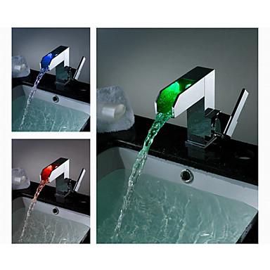 Armaturen für Waschbecken - Zeitgenössisch - LED / Wasserfall - Messing (Chrom)
