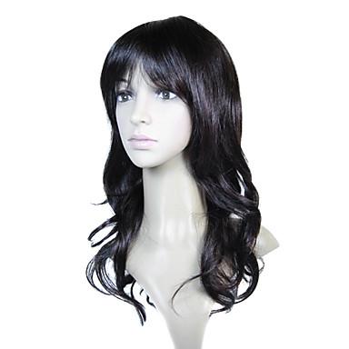 sin tapón sintético de alta calidad a largo castaño europeo peluca de cabello tejido (0988-nskc045)