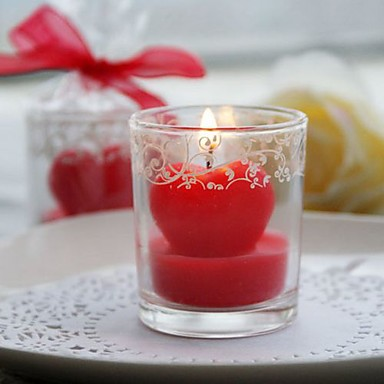 Heart Candle in Glass Vase