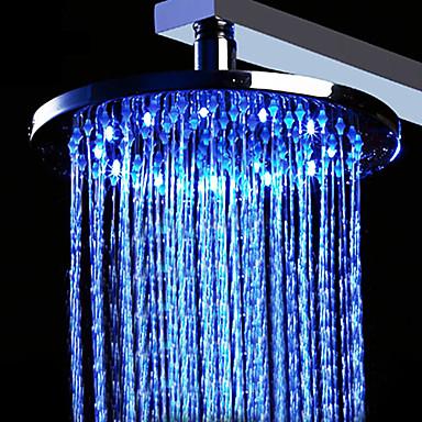 12 pollici soffione doccia in ottone con la luce cambia colore a led (rotondo)