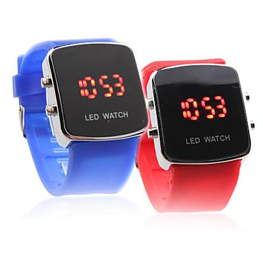 52df70b8a manželů červená LED digitální čtvercové pouzdro silikonové hodinky kapela  zápěstí (1-pair, modrá