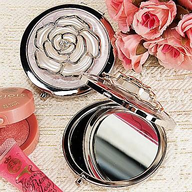 rose blanche couvercle chromé faveur miroir compact