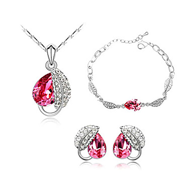 Fashion Crystal With Platinum Plated Jewelry Set, Including Necklace, Earrings