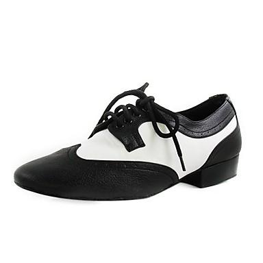 Homme Chaussures de Swing Cuir Plate Lacet Talon Plat Noir