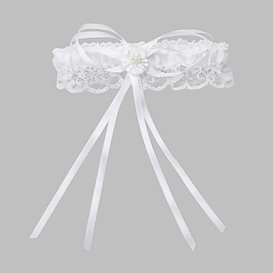Poliéster Encaje Clásico Liga de la boda  -  Perla de Imitación Corbata de Lazo Ligas