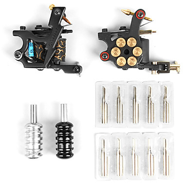 Tattoo Machine Professionel Tattoo Kit - 2 pcs Tattoo Maskiner LCD strømforsyning Etui medfølger 2 x støbejern tatoveringsmaskine til