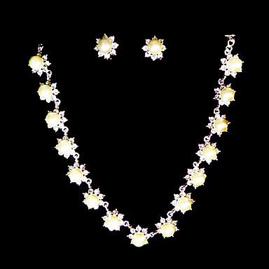 Femme Strass Perle imitée Mariage Soirée Anniversaire Fiançailles Alliage Boucles d'oreille Colliers décoratifs