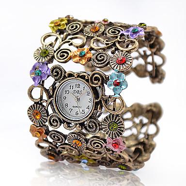 Dámské Módní hodinky / Náramkové hodinky Slitina Kapela Květina / Vintage / Skládaný Brązowy