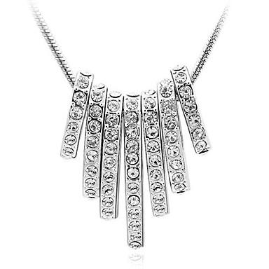 colares de cristal em liga de prata