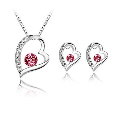 belles dames forme coeur bijoux en cristal met en alliage ruban dont Collier Boucles d'oreilles couleurs plus disponibles