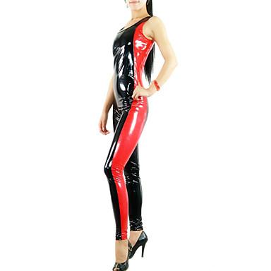 Shiny Zentai Suits Ninja Zentai Cosplay Costumes Red Print Patchwork Leotard/Onesie Catsuit Zentai PVC Women's Halloween