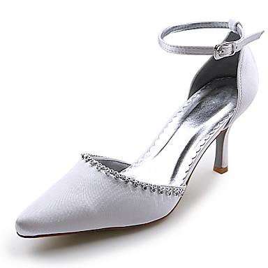 satin haut talons hauts fermé orteils avec rhinestone mariage chaussures nuptiales r-010