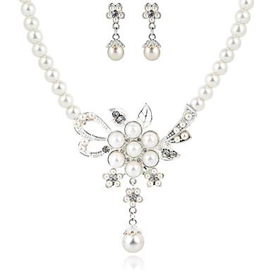 8b1bb3fd89 szép tiszta kristály és bizsu gyöngy esküvői ékszer szett, beleértve a  nyaklánc és fülbevaló