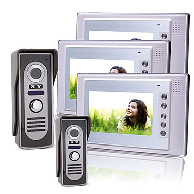 tre 7 tommer TFT LCD video dørtelefon med 2 vandtætte kameraer (420 TVL)