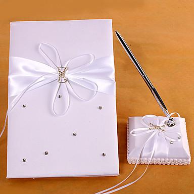 Βιβλίο Καλεσμένων / Σετ Στυλό Σατέν Θέμα ΚήποςWithΤεχνητό διαμάντι / Κορδέλες / Ζωνάρι
