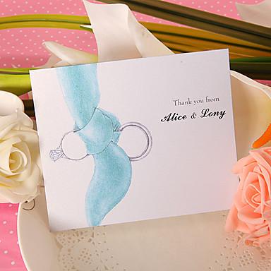 Düz Kart Düğün Davetiyeleri Teşekkür Ederim Kartları Klasik Stil Modern Stil İnci Kağıdı 6 ½