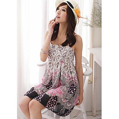 mousseline à fines bretelles à motif robe bain de soleil (plus de couleurs)